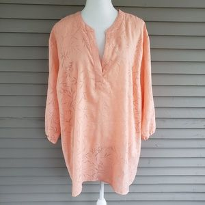 Woman Within Orange Semi Sheer Blouse 3X